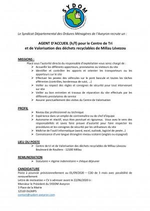 Le SYDOM Aveyron recrute un agent technique