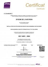 Certificat AFNOR ISO 14001